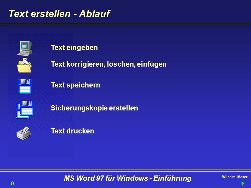 Wilhelm Moser MS Word 97 für Windows - Einführung Text gestalten - Kopf- & Fußzeilen einrichten Kopf & Fußzeilen gelten zunächst für das ganze Dokument unterdrücken auf der ersten Seite erste Seite anders gerade & ungerade Seiten anders für einzelne Kapitel anders ist möglich.