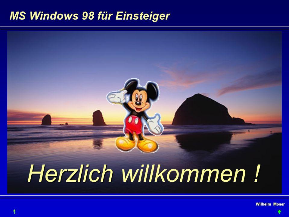 Wilhelm Moser MS Windows 98 für Einsteiger Dateien verwalten - kopieren & verschieben Verschieben durch Drag & Drop also Selektion anfassen ( linke Maustaste gedrückt halten ) Am gleichen Laufwerk wird verschoben, sonst kopiert.