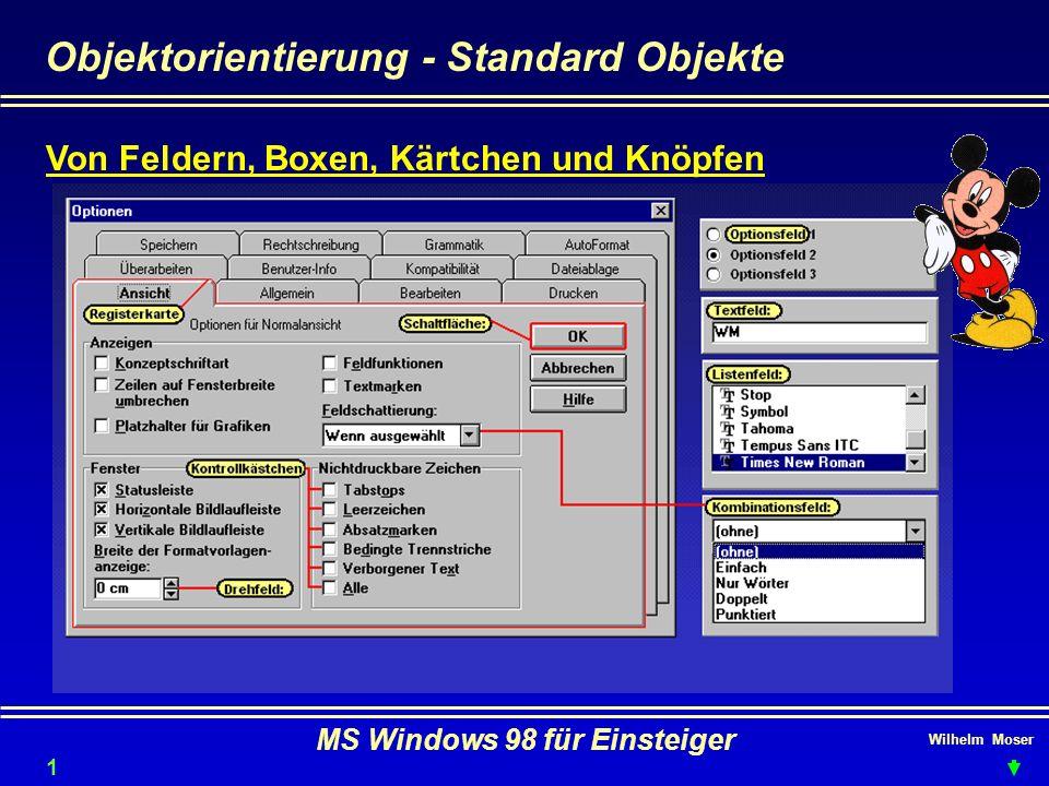 Wilhelm Moser MS Windows 98 für Einsteiger Objektorientierung - Standard Objekte Von Feldern, Boxen, Kärtchen und Knöpfen 10