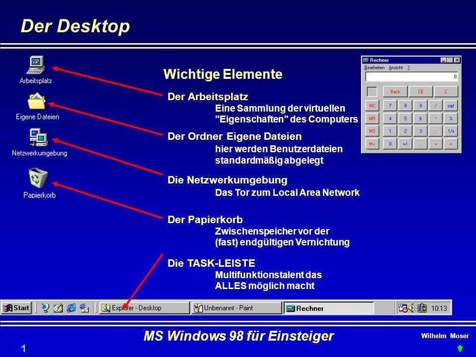 Wilhelm Moser MS Windows 98 für Einsteiger Der Desktop 14 Wichtige Elemente Der Arbeitsplatz Eine Sammlung der virtuellen