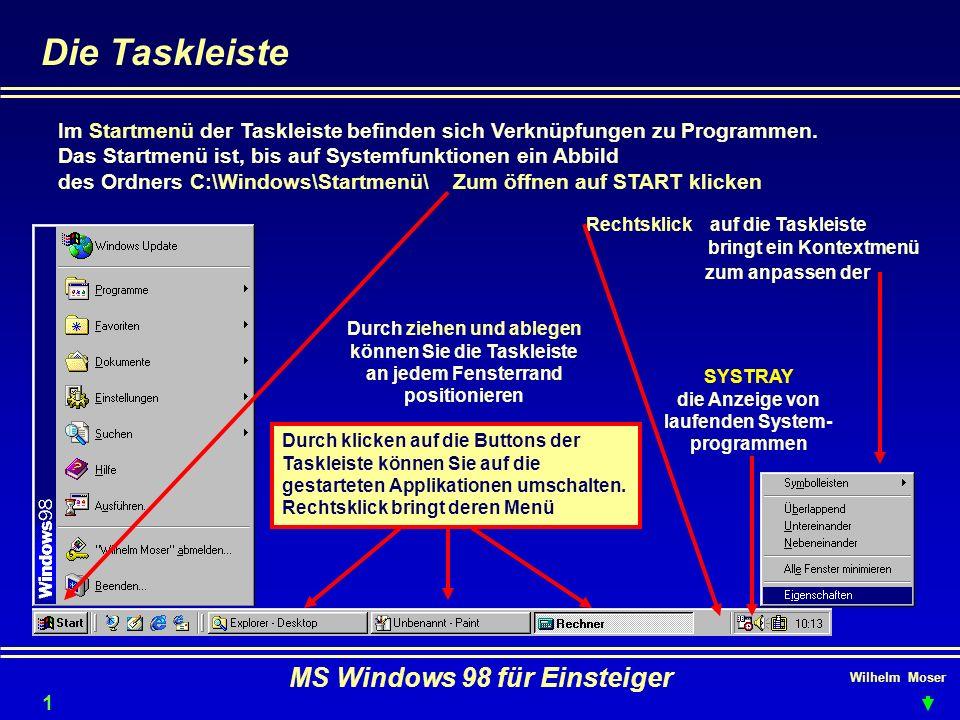 Wilhelm Moser MS Windows 98 für Einsteiger Die Taskleiste Im Startmenü der Taskleiste befinden sich Verknüpfungen zu Programmen. Das Startmenü ist, bi