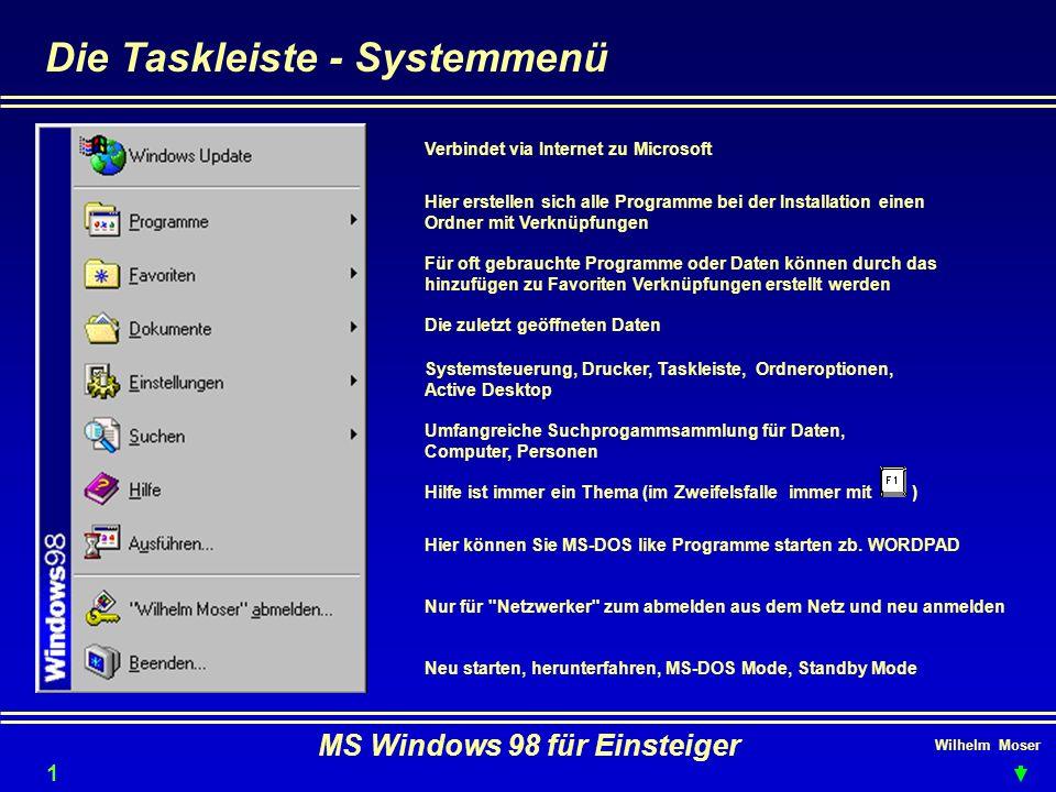 Wilhelm Moser MS Windows 98 für Einsteiger Die Taskleiste - Systemmenü Verbindet via Internet zu Microsoft Hier erstellen sich alle Programme bei der