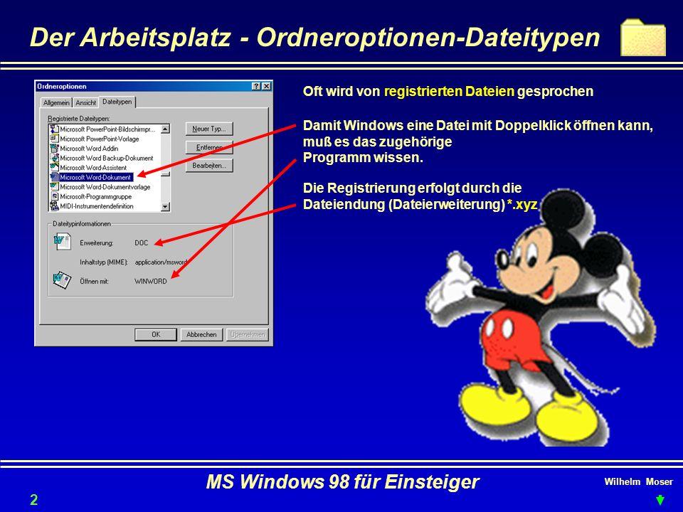 Wilhelm Moser MS Windows 98 für Einsteiger Der Arbeitsplatz - Ordneroptionen-Dateitypen Oft wird von registrierten Dateien gesprochen Damit Windows ei