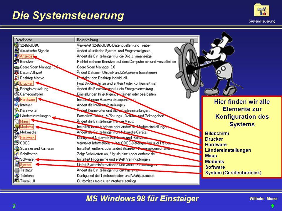 Wilhelm Moser MS Windows 98 für Einsteiger Die Systemsteuerung Hier finden wir alle Elemente zur Konfiguration des Systems Bildschirm Drucker Hardware