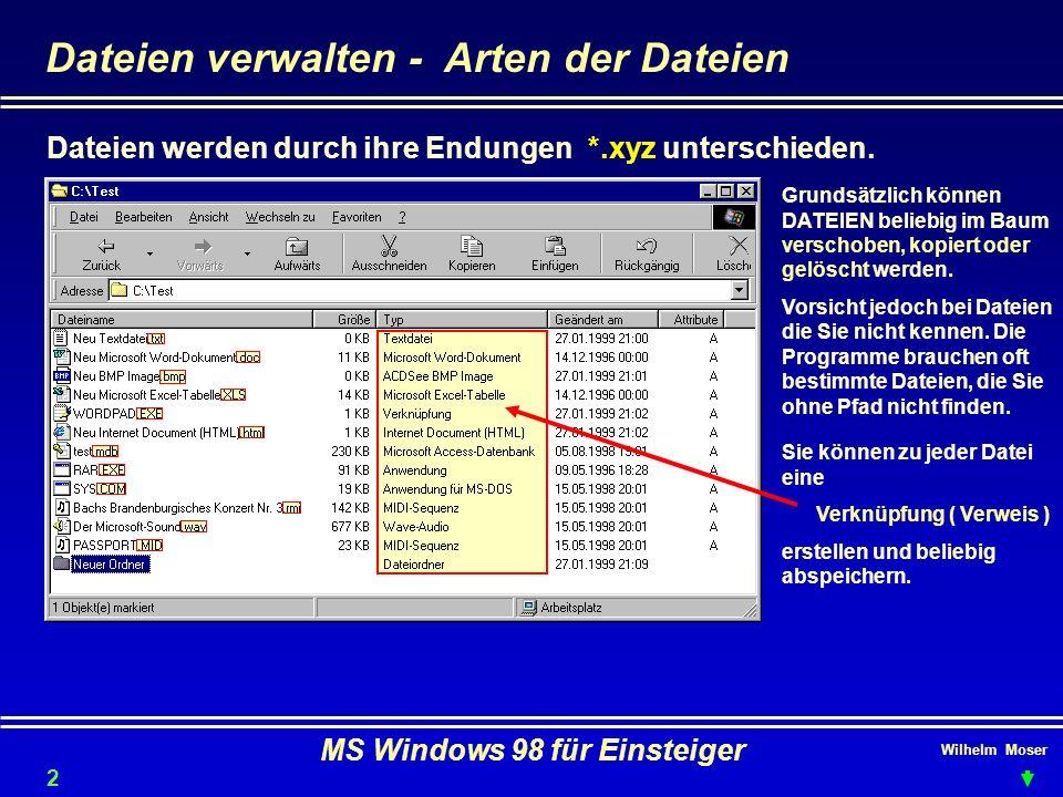 Wilhelm Moser MS Windows 98 für Einsteiger Dateien verwalten - Arten der Dateien Dateien werden durch ihre Endungen *.xyz unterschieden. Grundsätzlich