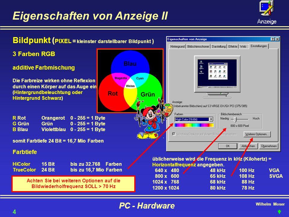 Wilhelm Moser PC - Hardware Eigenschaften von Anzeige II Bildpunkt ( PIXEL = kleinster darstellbarer Bildpunkt ) 3 Farben RGB additive Farbmischung Di