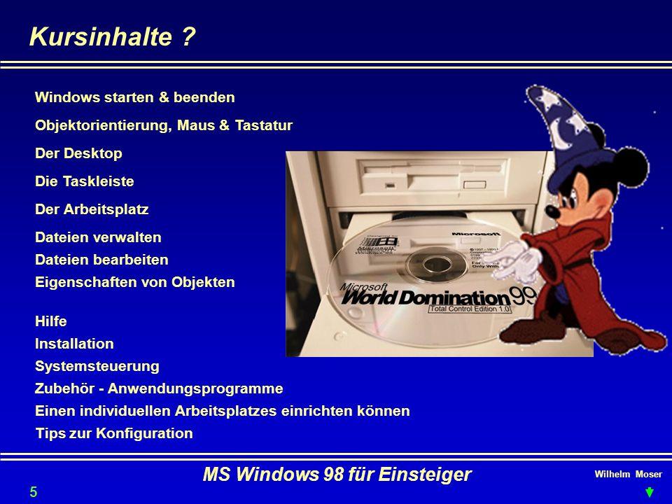 Wilhelm Moser MS Windows 98 für Einsteiger Dateien verwalten - Datenträger formatieren Im Arbeitsplatz Datenträger selektieren rechte Maustaste >> Kontextmenü > formatieren Quickformat es wird nur die FAT neu geschrieben Vollständig das sollte generell unsere Option sein (Sektoren werden neu angelegt) Systemdateien kopieren Überträgt IO.SYS MSDOS.SYS undCOMMAND.COM und macht den Datenträger bootfähig.