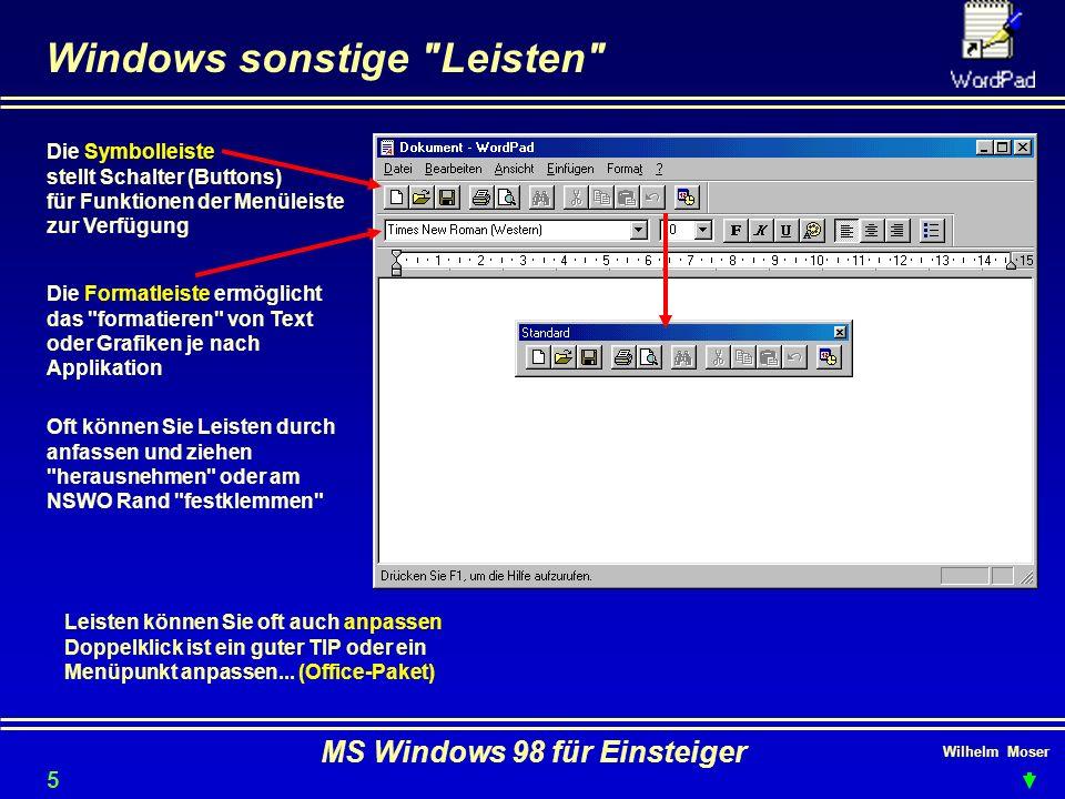 Wilhelm Moser MS Windows 98 für Einsteiger Windows sonstige