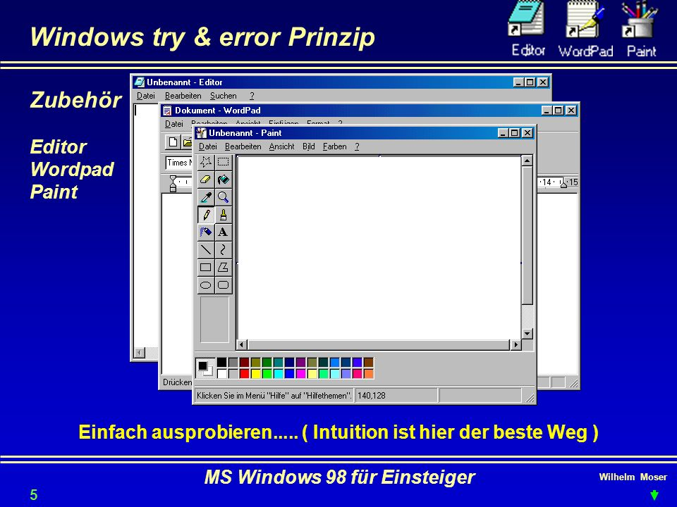 Wilhelm Moser MS Windows 98 für Einsteiger Windows try & error Prinzip Einfach ausprobieren..... ( Intuition ist hier der beste Weg ) Zubehör Editor W