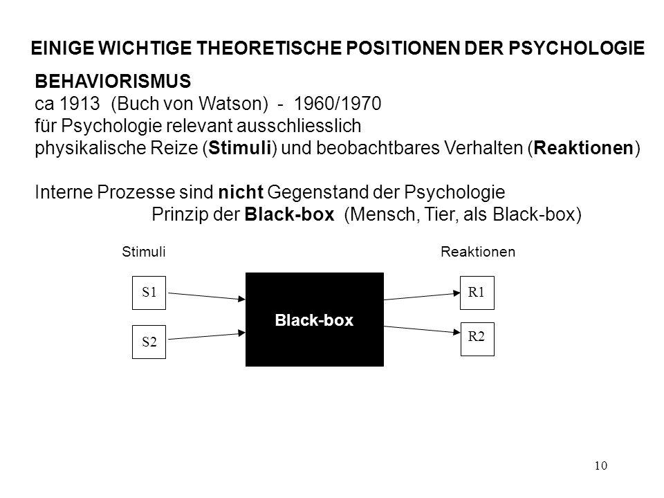 10 EINIGE WICHTIGE THEORETISCHE POSITIONEN DER PSYCHOLOGIE BEHAVIORISMUS ca 1913 (Buch von Watson) - 1960/1970 für Psychologie relevant ausschliesslic