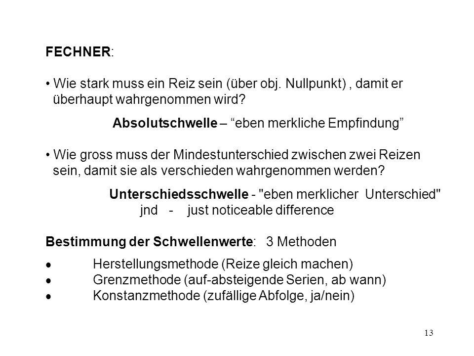 14 Hypothese über Verhältnis: physikalische Stimulusintensität - subjektive Empfindung historisch: Fechnersches-Gesetz (Weber-Fechnersches-Gesetz) Aktuell: POWER LAW Stevens (1961) (Potenzgesetz) S = k I b S...