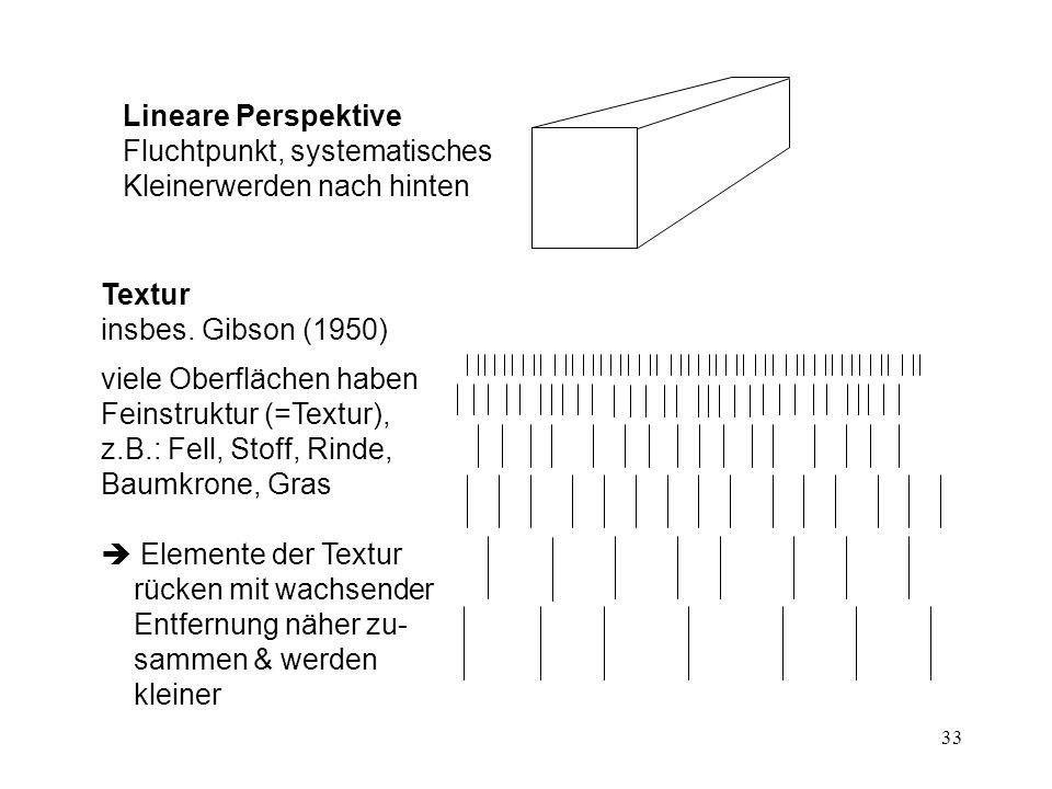 33 Lineare Perspektive Fluchtpunkt, systematisches Kleinerwerden nach hinten Textur insbes.