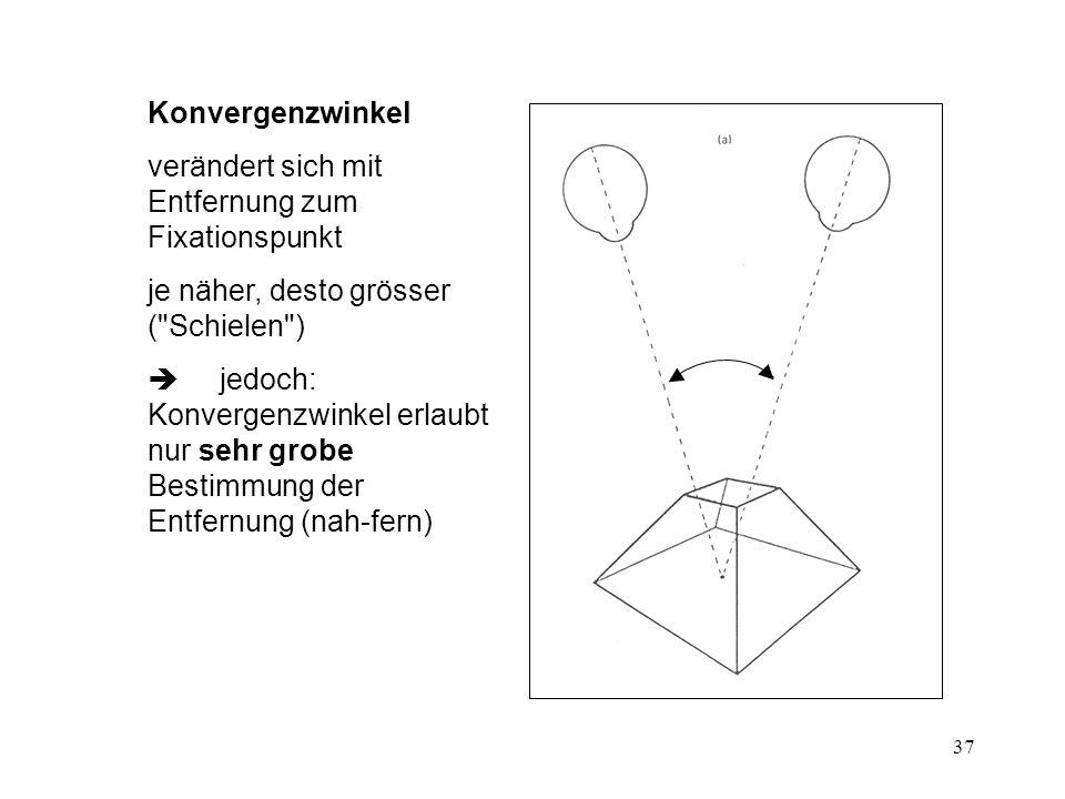 38 Steropsis Querdisparation (binoculare Parallaxe) Augenabstand ca.