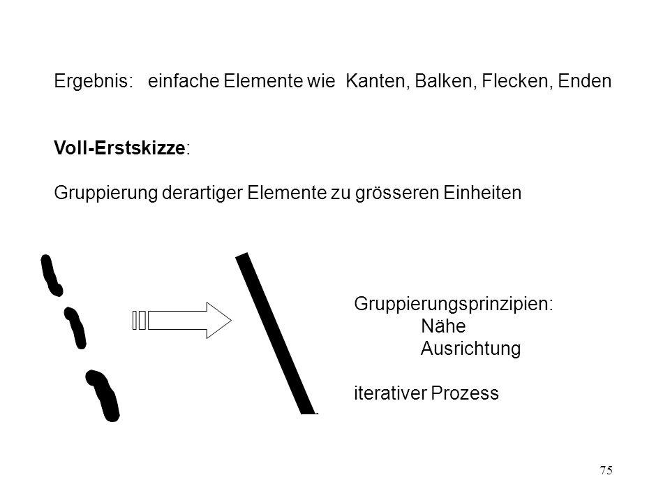 76 nach neueren Ergebnissen: Vermutlich Gruppierung nicht nur im zweidimensionalen Raum Endergebnis der Erstskizze: Linienrepräsentation enthält aber auch irrelevante Linien beobachterzentriert Abbildung (Bild 110 aus Frisby [1979])