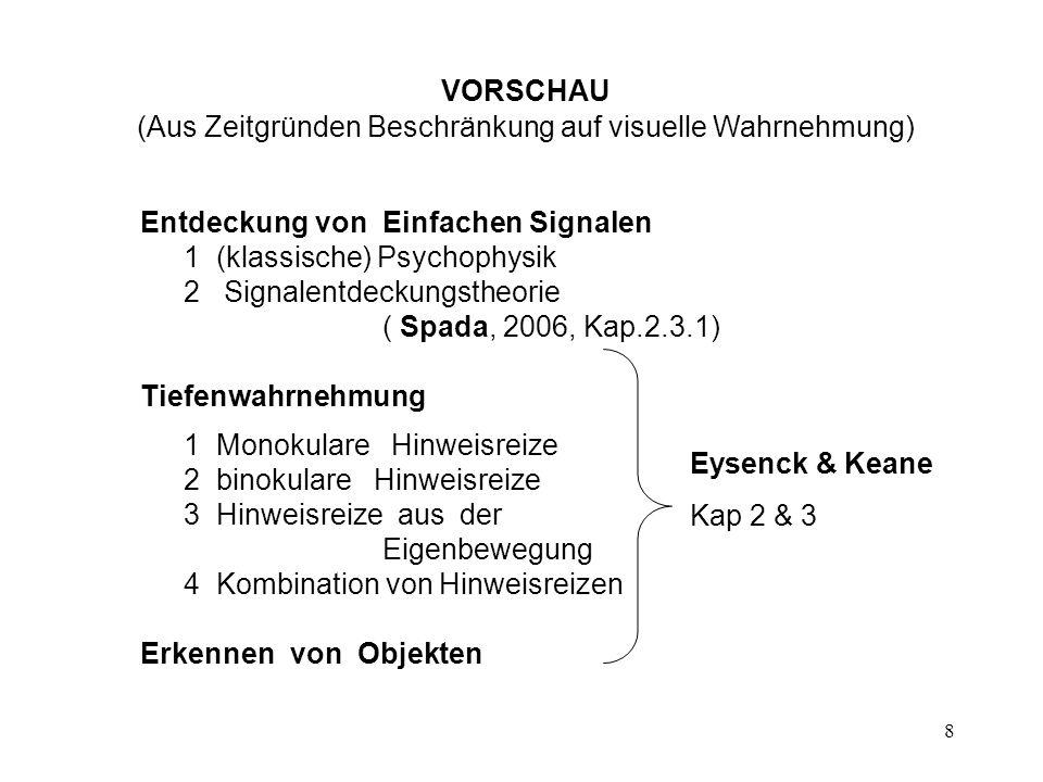 9 Erkennen von Objekten 1 Gestaltpsychologie 2 Mustererkennen ( Pattern Recognition ) 2.1 Schablonentheorien - Template theories 2.2 Merkmalsanalyse - Feature Theories 2.3 Strukturbeschreibung - Structural Description 3 Computationale Theorie der Visuellen Wahrnehmung 3.1 Grundsätzliche Überlegungen zum Wahrnehmungsprozess 3.2 Basisprozesse 3.3 Objekterkennung
