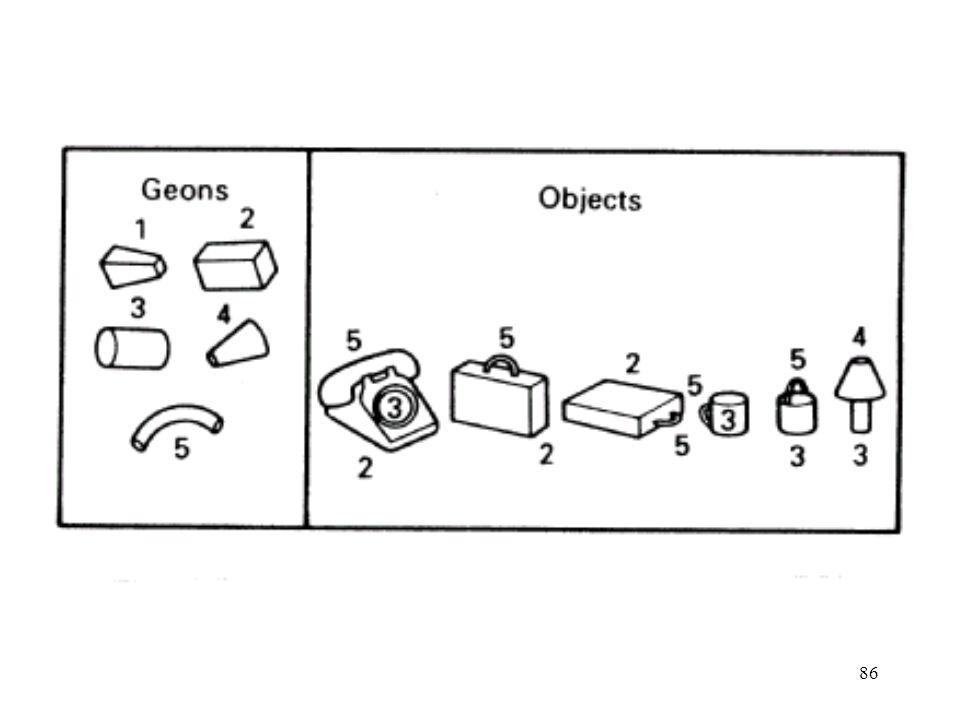 87 Verlauf der Objekt-Erkennung nach Biederman Determination der Geons und ihrer Relationen Vergleich mit Gedächtnisrepräsentationen (Geon-Beschreibungen von Objekten) Kanten-Extraktion Identifikation von nicht- zufälligen Eigenschaften Zerlegung des Objektes
