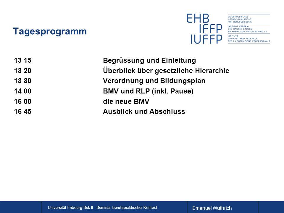 Emanuel Wüthrich Universität Fribourg Sek II Seminar berufspraktischer Kontext Pendenzen Fachmaturität > HF Lehrpersonen mit BM an ABU BFS > nicht so gedacht.
