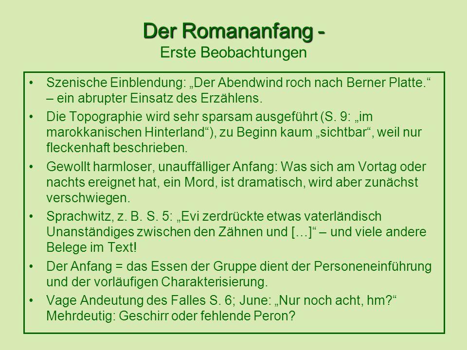 Der Romananfang - Der Romananfang - Erste Beobachtungen Szenische Einblendung: Der Abendwind roch nach Berner Platte.