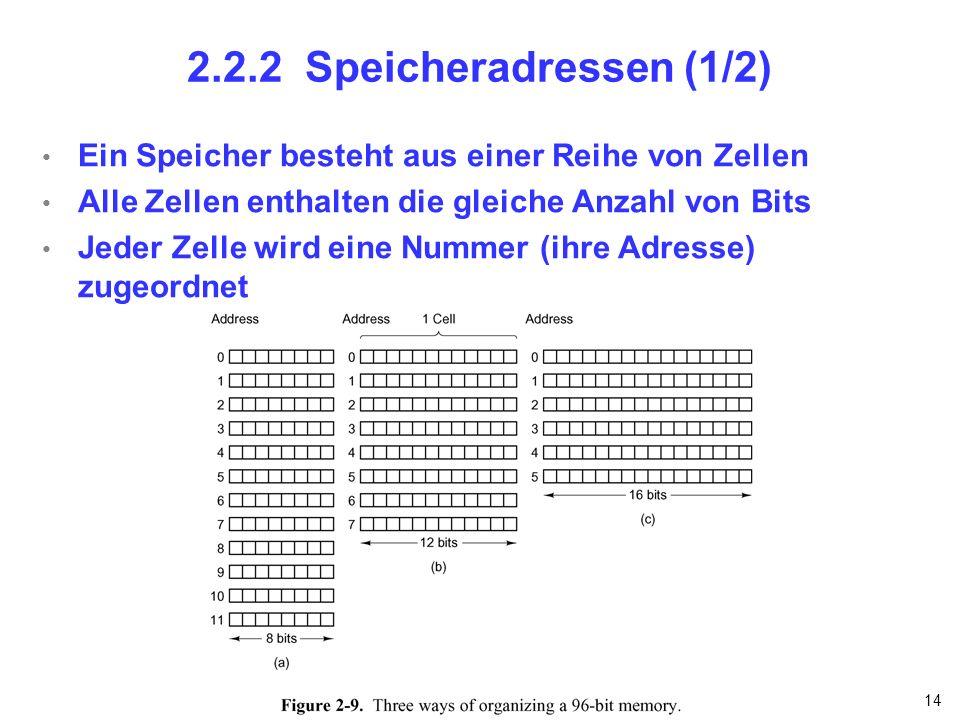 14 2.2.2 Speicheradressen (1/2) Ein Speicher besteht aus einer Reihe von Zellen Alle Zellen enthalten die gleiche Anzahl von Bits Jeder Zelle wird ein