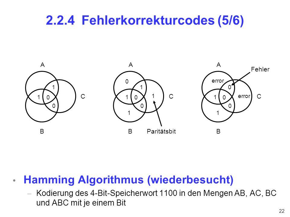 22 2.2.4 Fehlerkorrekturcodes (5/6) Hamming Algorithmus (wiederbesucht) Kodierung des 4-Bit-Speicherwort 1100 in den Mengen AB, AC, BC und ABC mit je
