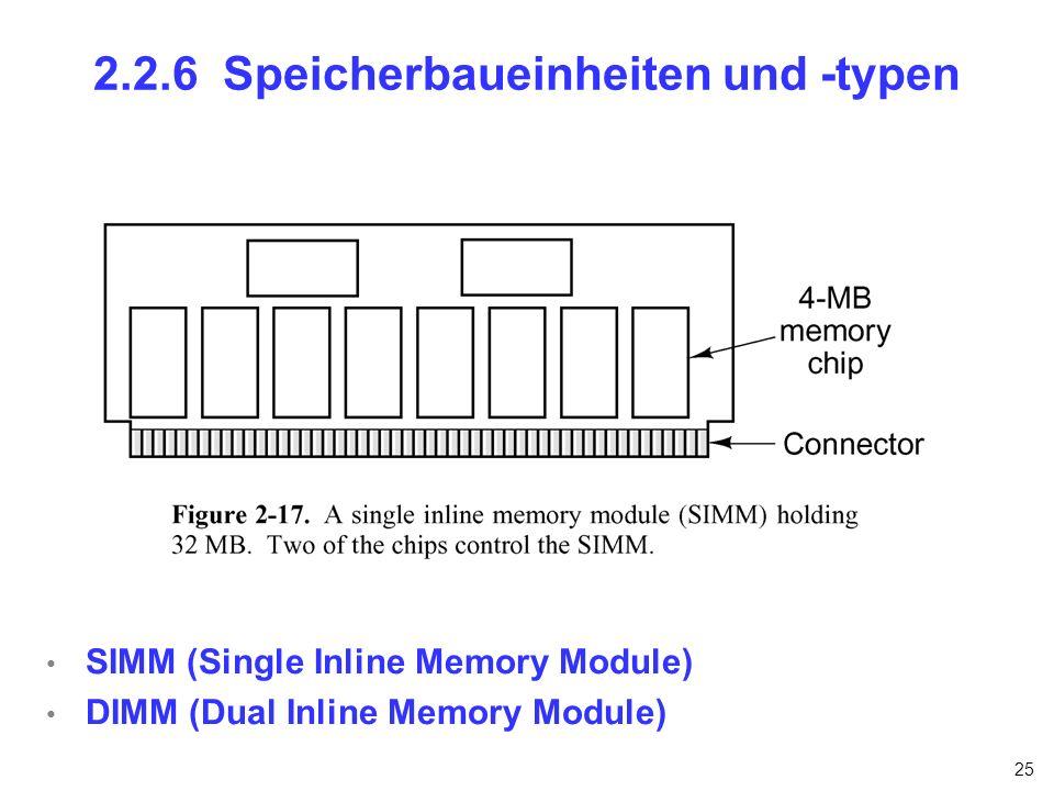 25 2.2.6 Speicherbaueinheiten und -typen SIMM (Single Inline Memory Module) DIMM (Dual Inline Memory Module)