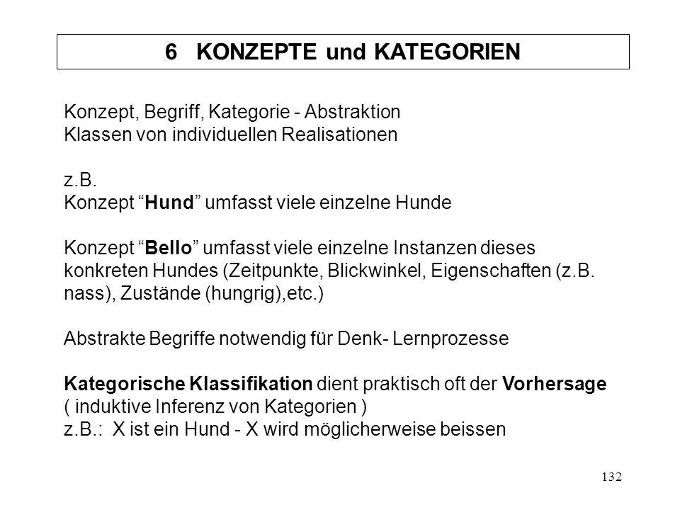 132 Konzept, Begriff, Kategorie - Abstraktion Klassen von individuellen Realisationen z.B.