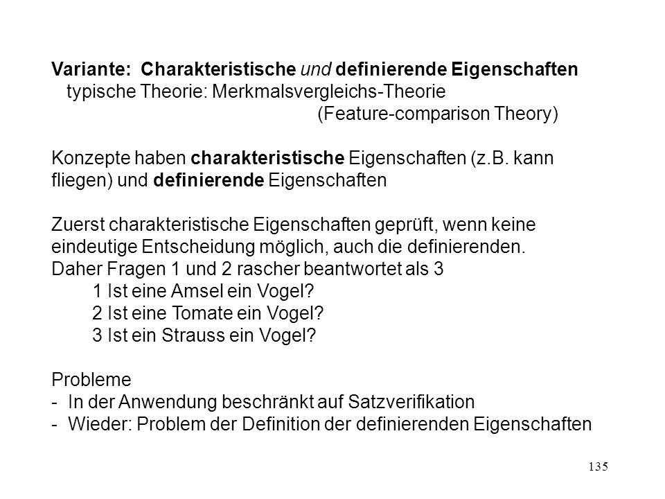 135 Variante: Charakteristische und definierende Eigenschaften typische Theorie: Merkmalsvergleichs-Theorie (Feature-comparison Theory) Konzepte haben charakteristische Eigenschaften (z.B.