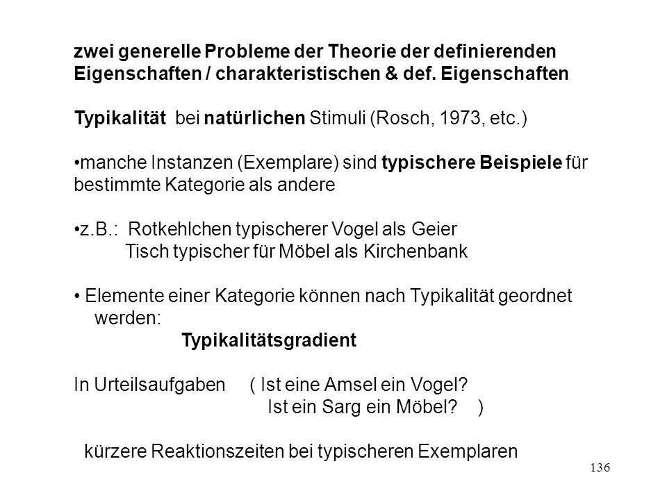 136 zwei generelle Probleme der Theorie der definierenden Eigenschaften / charakteristischen & def.