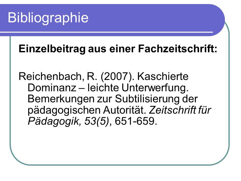 Bibliographie Einzelbeitrag aus einer Fachzeitschrift: Reichenbach, R. (2007). Kaschierte Dominanz – leichte Unterwerfung. Bemerkungen zur Subtilisier