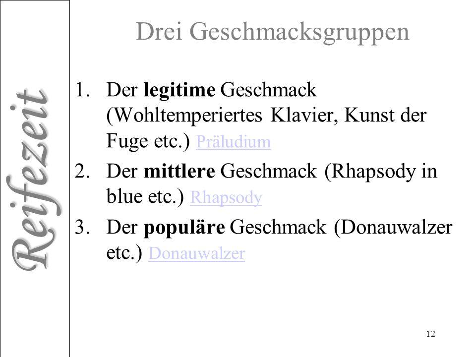 Reifezeit 12 Drei Geschmacksgruppen 1.Der legitime Geschmack (Wohltemperiertes Klavier, Kunst der Fuge etc.) Präludium Präludium 2.Der mittlere Geschm