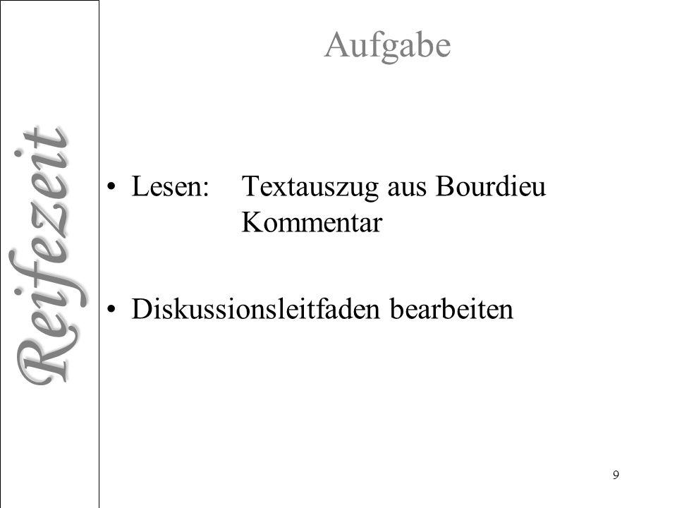 Reifezeit 9 Aufgabe Lesen: Textauszug aus Bourdieu Kommentar Diskussionsleitfaden bearbeiten