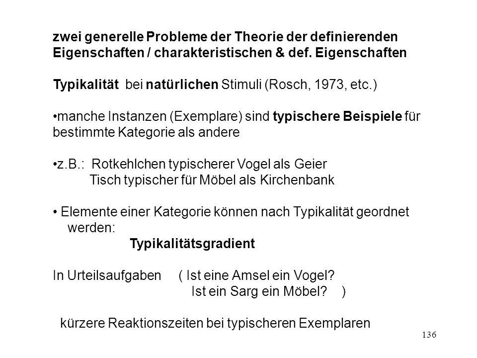 136 zwei generelle Probleme der Theorie der definierenden Eigenschaften / charakteristischen & def. Eigenschaften Typikalität bei natürlichen Stimuli