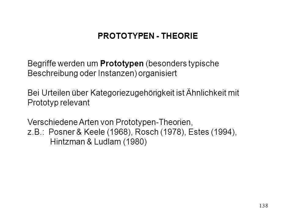 138 PROTOTYPEN - THEORIE Begriffe werden um Prototypen (besonders typische Beschreibung oder Instanzen) organisiert Bei Urteilen über Kategoriezugehör