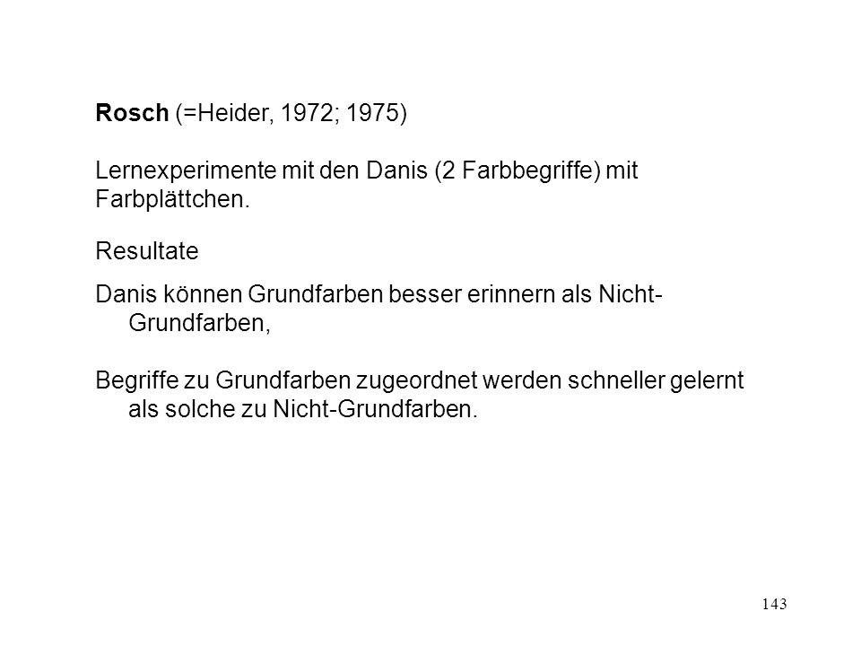 143 Rosch (=Heider, 1972; 1975) Lernexperimente mit den Danis (2 Farbbegriffe) mit Farbplättchen. Resultate Danis können Grundfarben besser erinnern a
