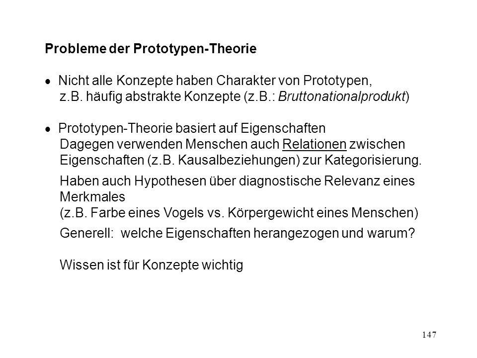 147 Probleme der Prototypen-Theorie Nicht alle Konzepte haben Charakter von Prototypen, z.B. häufig abstrakte Konzepte (z.B.: Bruttonationalprodukt) P