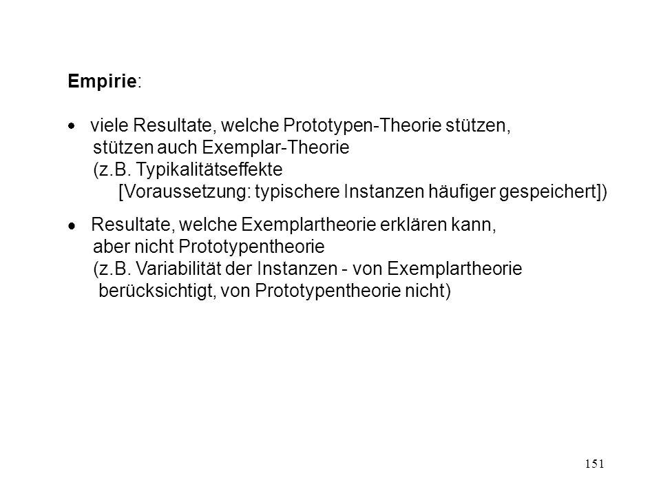 151 Empirie: viele Resultate, welche Prototypen-Theorie stützen, stützen auch Exemplar-Theorie (z.B. Typikalitätseffekte [Voraussetzung: typischere In