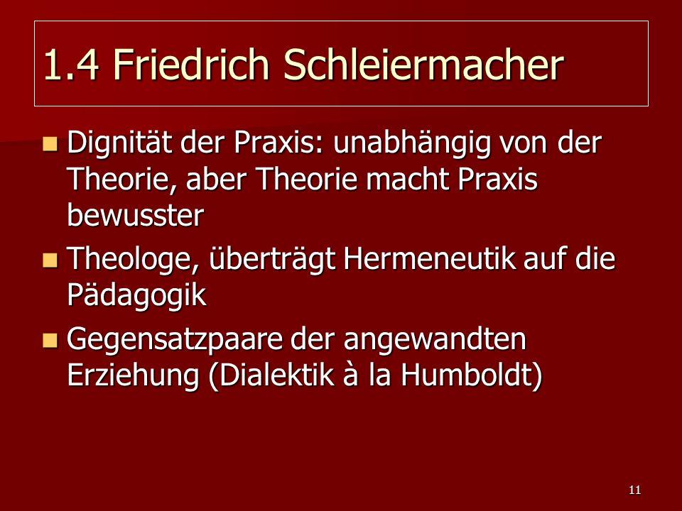 11 1.4 Friedrich Schleiermacher Dignität der Praxis: unabhängig von der Theorie, aber Theorie macht Praxis bewusster Dignität der Praxis: unabhängig v
