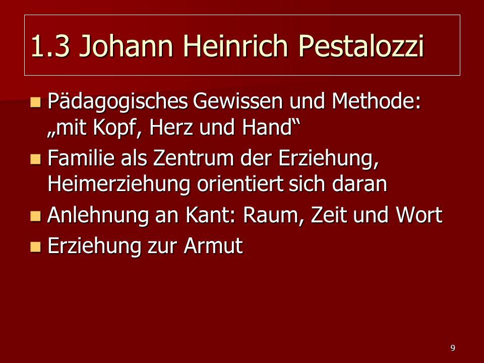 9 1.3 Johann Heinrich Pestalozzi Pädagogisches Gewissen und Methode: mit Kopf, Herz und Hand Pädagogisches Gewissen und Methode: mit Kopf, Herz und Ha