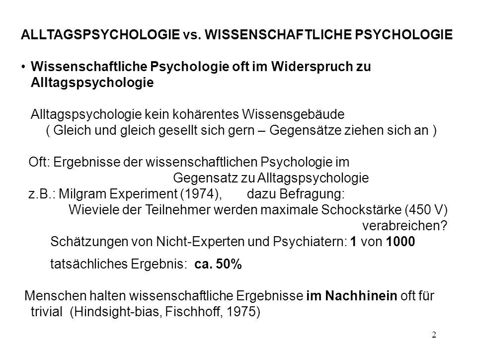 2 ALLTAGSPSYCHOLOGIE vs. WISSENSCHAFTLICHE PSYCHOLOGIE Wissenschaftliche Psychologie oft im Widerspruch zu Alltagspsychologie Alltagspsychologie kein