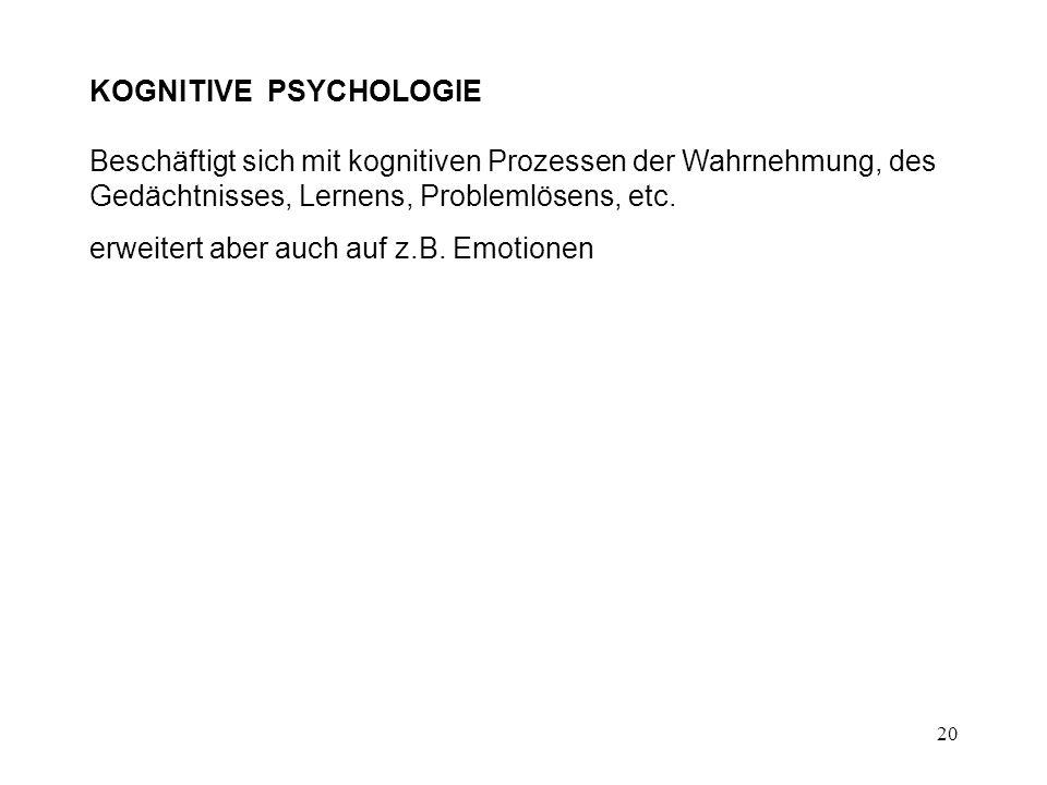 20 KOGNITIVE PSYCHOLOGIE Beschäftigt sich mit kognitiven Prozessen der Wahrnehmung, des Gedächtnisses, Lernens, Problemlösens, etc. erweitert aber auc