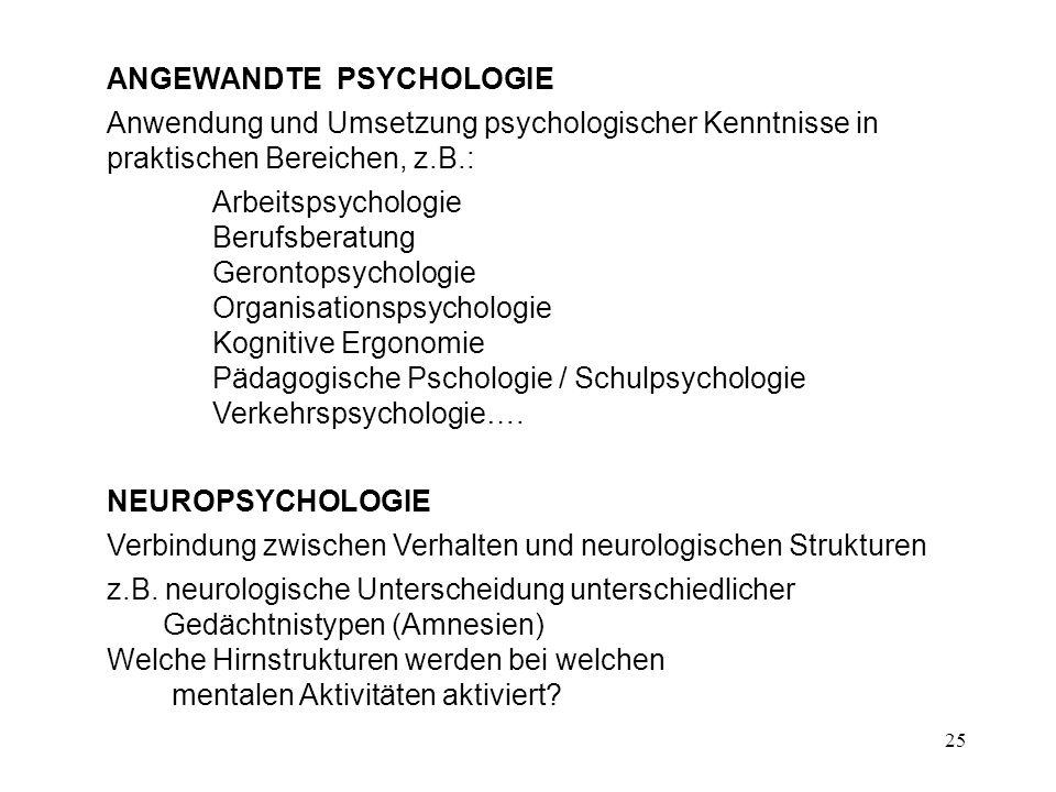 25 ANGEWANDTE PSYCHOLOGIE Anwendung und Umsetzung psychologischer Kenntnisse in praktischen Bereichen, z.B.: Arbeitspsychologie Berufsberatung Geronto