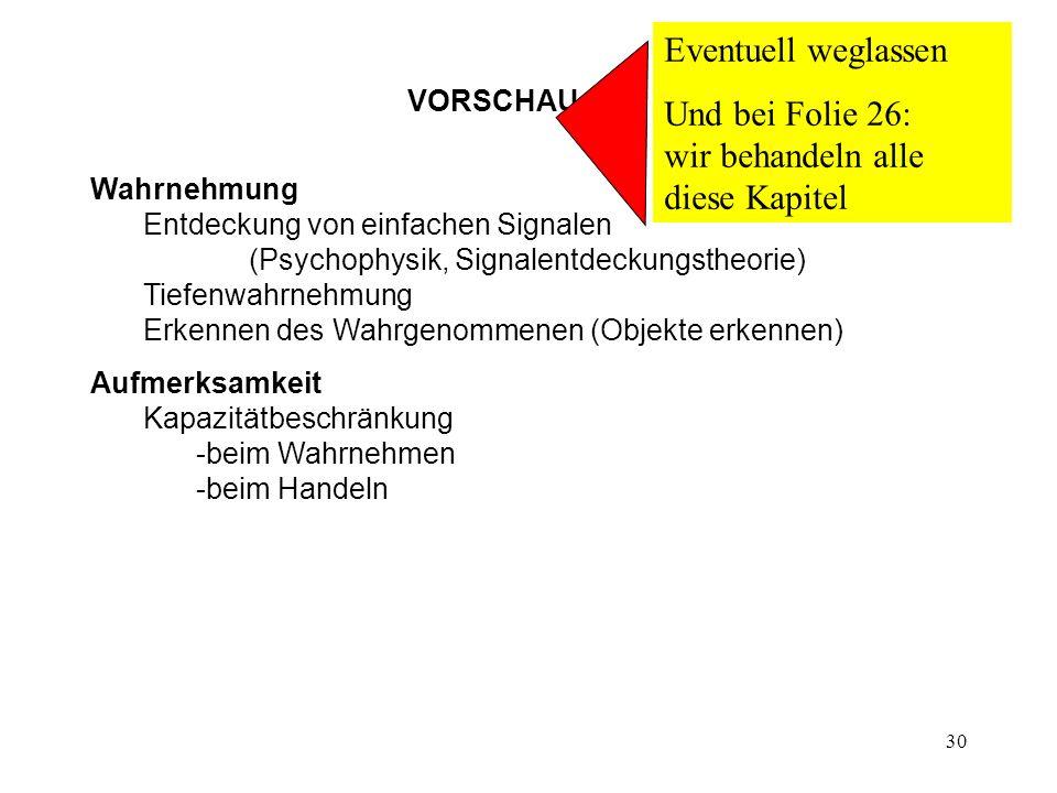 30 VORSCHAU Wahrnehmung Entdeckung von einfachen Signalen (Psychophysik, Signalentdeckungstheorie) Tiefenwahrnehmung Erkennen des Wahrgenommenen (Obje