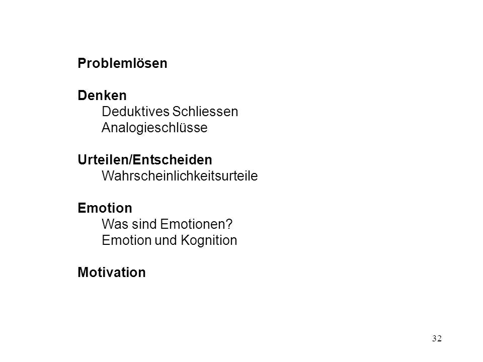 32 Problemlösen Denken Deduktives Schliessen Analogieschlüsse Urteilen/Entscheiden Wahrscheinlichkeitsurteile Emotion Was sind Emotionen? Emotion und