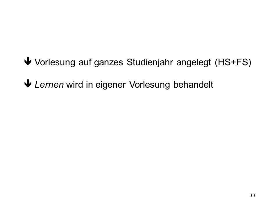 33 Vorlesung auf ganzes Studienjahr angelegt (HS+FS) Lernen wird in eigener Vorlesung behandelt