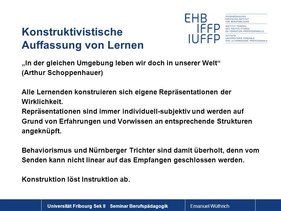 Emanuel Wüthrich Universität Fribourg Sek II Seminar Berufspädagogik Konstruktivistische Auffassung von Lernen In der gleichen Umgebung leben wir doch