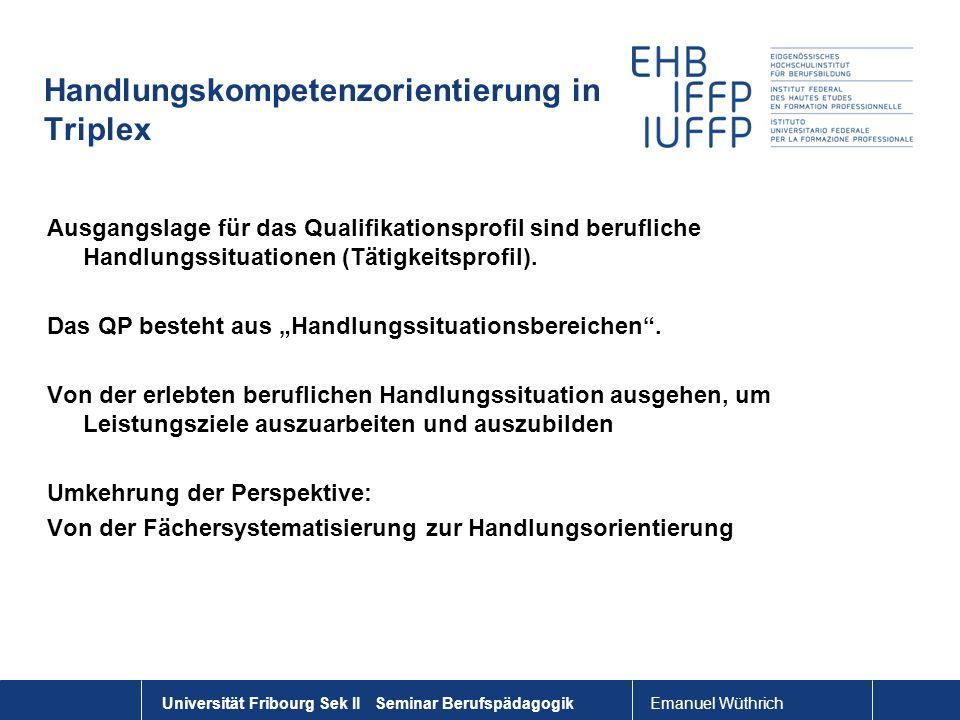 Emanuel Wüthrich Universität Fribourg Sek II Seminar Berufspädagogik Handlungskompetenzorientierung in Triplex Ausgangslage für das Qualifikationsprof