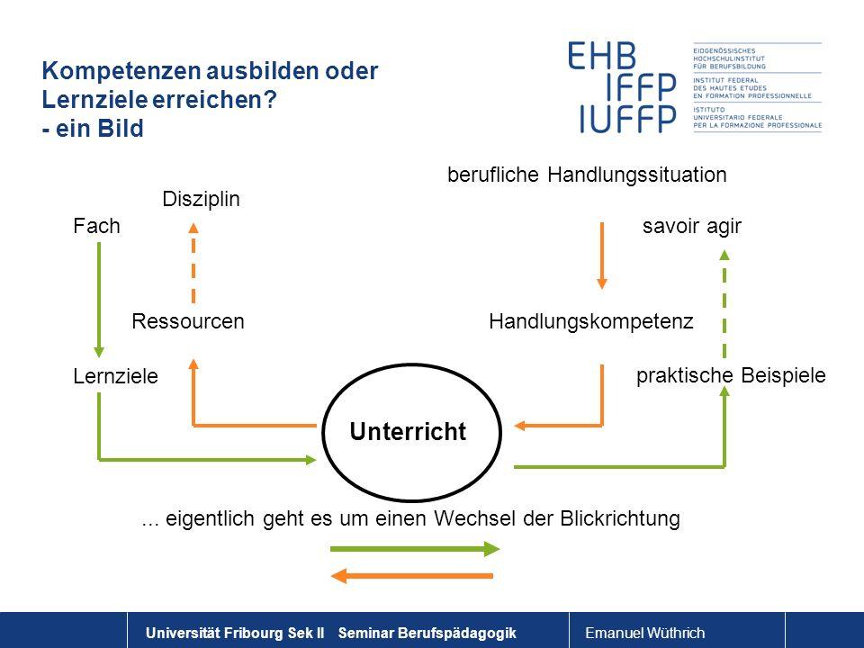 Emanuel Wüthrich Universität Fribourg Sek II Seminar Berufspädagogik Kompetenzen ausbilden oder Lernziele erreichen? - ein Bild Unterricht berufliche