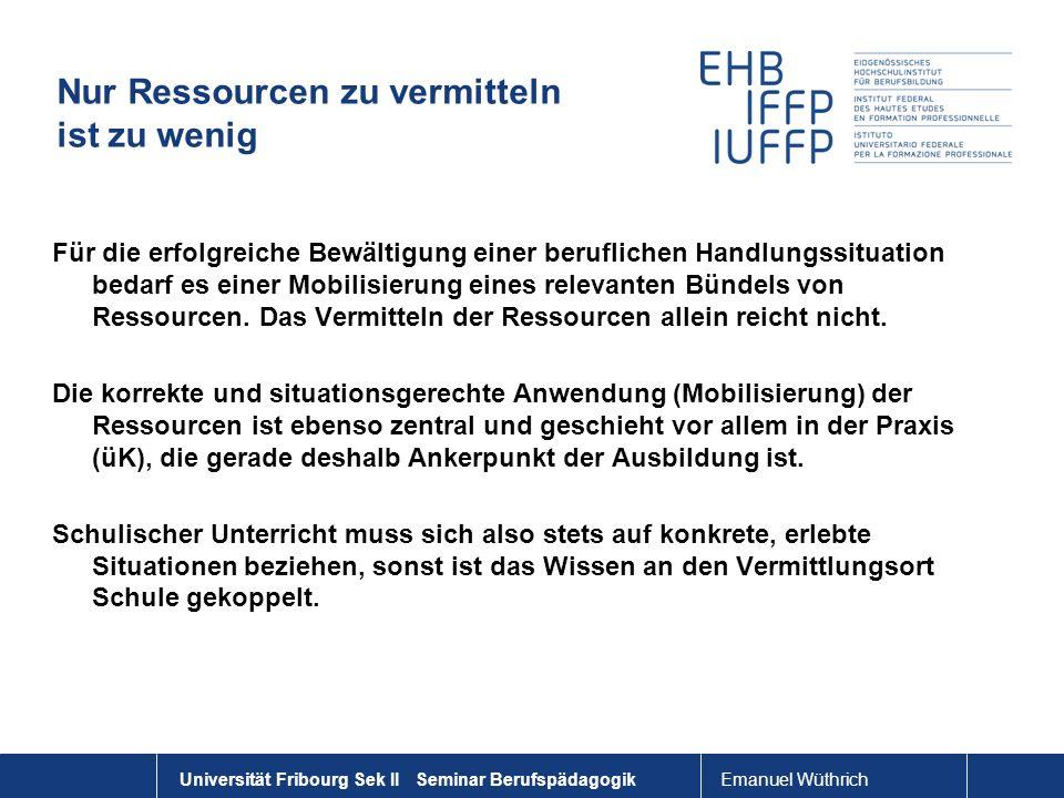 Emanuel Wüthrich Universität Fribourg Sek II Seminar Berufspädagogik Nur Ressourcen zu vermitteln ist zu wenig Für die erfolgreiche Bewältigung einer