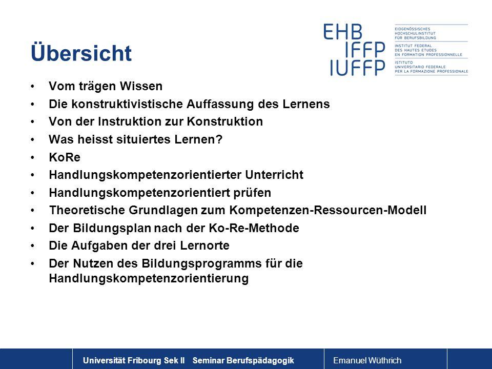 Emanuel Wüthrich Universität Fribourg Sek II Seminar Berufspädagogik Übersicht Vom trägen Wissen Die konstruktivistische Auffassung des Lernens Von de