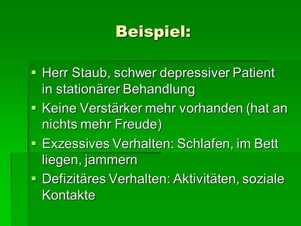 Beispiel: Herr Staub, schwer depressiver Patient in stationärer Behandlung Herr Staub, schwer depressiver Patient in stationärer Behandlung Keine Vers